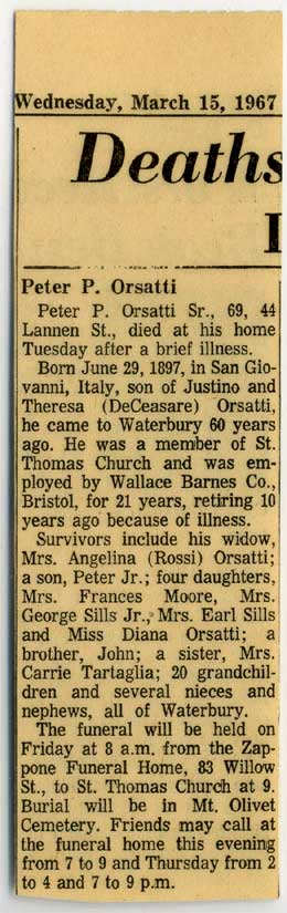 Obituary - Peter P. Orsatti, Sr. 1967